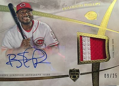 2014 Topps Supreme Brandon Phillips Auto Piece Of Authentic Limited 9/25 Reds
