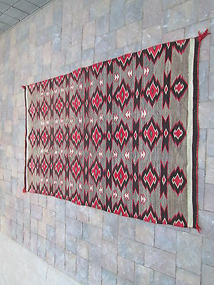 "EXQUISITE 75"" x 46"" RED MESA NAVAJO TEXTILE HAND SPUN TRANSITIONAL BLANKET/RUG"