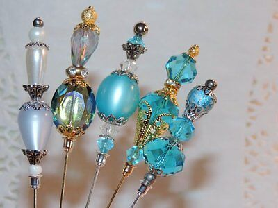 5 Victorian Vtg Style Ladies Hat Stick Pins Turquoise Blue Crystal Lucite Lot #5