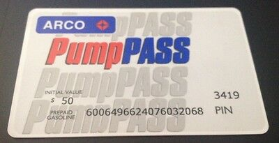 ARCO Gasoline $50.00 Gift Card Pump Pass Card ~ Fast Free Shipping!!