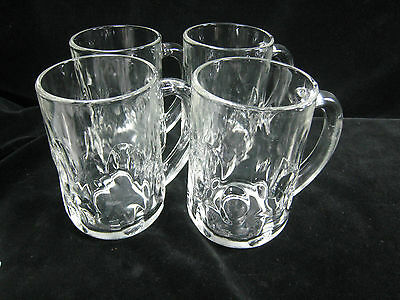 Set of 4 Anchor Hocking Glass Beer Steins with Thumbprint Design
