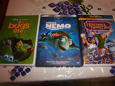 LOT OF 3 DISNEY DVD MOVIES  (FINDING NEMO, A BUG'S LIFE, THE HUNCHBACK OF NO...)