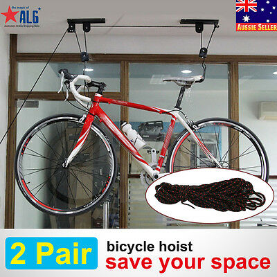 2 x Storage Hoist Bicycle Kayak Rack Bike Lifter Pulley System Ceiling Hooks