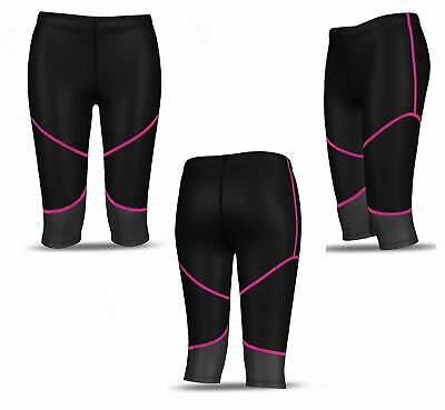 Ladies Womens Black Pink Grey 3/4 Compression Leggings Gym Pants Running Skins