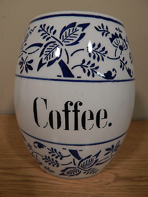 """ANTIQUE GERMAN BLUE ONION 6"""" CANISTER.  COFFEE"""