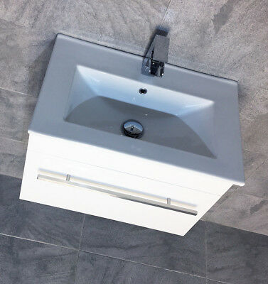 600mm Square Wall Hung Vanity Unit With Ceramic Basin Sink Drawer + Tap Options