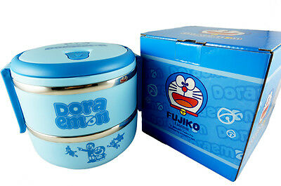 Doraemon 2 Tier Bento Lunch Box Stainless Steel Food Container for Kids Portable