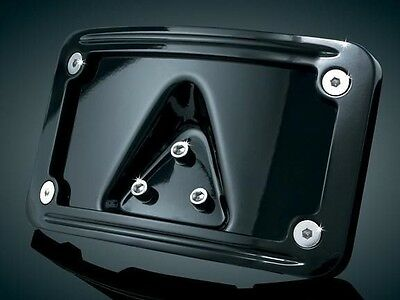 Curved Laydown License Plate Mount with Frame Kuryakyn Gloss Black 3148