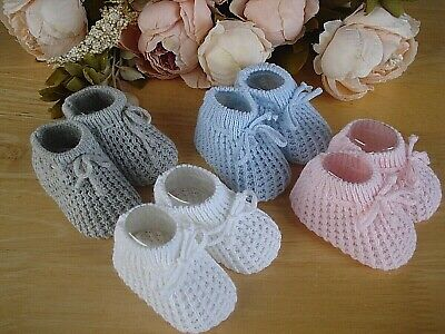 Various Baby Boy Girl Unisex Satin Knit Booties White Pink Blue Cream Size NB-3m