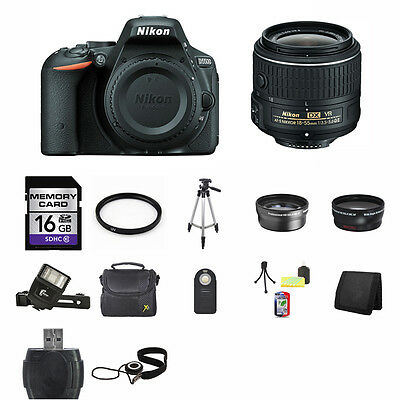 Nikon D5500 DSLR Camera - Black w/18-55mm Lens 16GB Full Kit