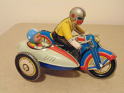 Wind up vintage 1960's Tin Clockwork Motorcycle with Sidecar #1