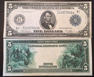 Reproduction  $5 1914 Federal Reserve Note Lincoln Columbus Pilgrims Minneapolis