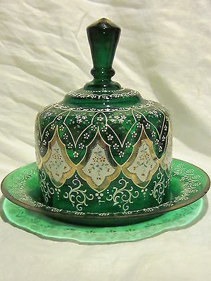 Moser Bohemian Green Cheese Dome Butter Dish