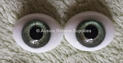 Reborn Baby Oval Glass Eyes 16mm Meadow Green Doll Making Supplies