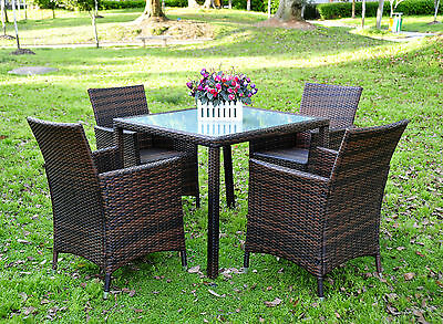 Brown Rattan Garden LA 4 Seater Dining Set Chair Table Glass Patio Furniture