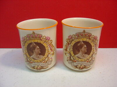Maastricht QUEEN OF HOLLAND 40 Year Commemorative Cups 1898-1938