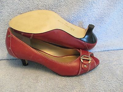 Womens Shoes ANNE KLEIN Size 7 1/2 RED PEEP TOE PUMP NWT