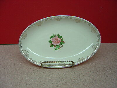 Paden City Pottery AMERICAN ROSE 22 Kt. Gold Oval Relish Dish 9 1/4""