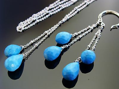 Genuine Sleeping Beauty Turquoise 925 Sterling Silver Gemstone Necklace Earrings