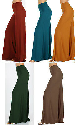 Usa Made Soft Flare Wide Leg Solid High Waist Foldover Yoga Palazzo Pants S-3Xl