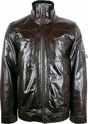 Unicorn Mens Casual Leather Jacket Brown Soft Touch Leather #DJ
