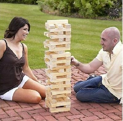 Giant Wooden Tumbling Jenga Tower Game Outdoor Indoor Garden Family Fun Games