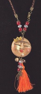 Mexican Necklace Handmade Jewelry Clay Moon Face w Crown Folk Art Mexico