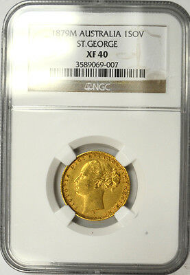 1879M Australia Gold Sovereign, NGC XF 40. Melbourne - Young Head -  St George