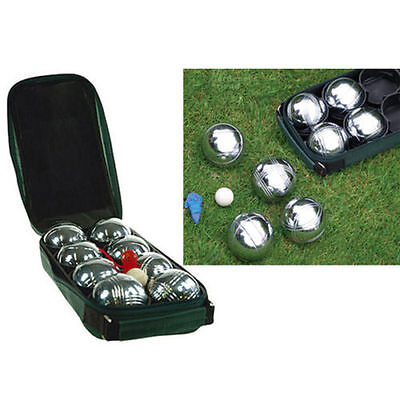 New Steel 8 Pc French Boules Set Petanque Balls Free Carry Case Garden Game