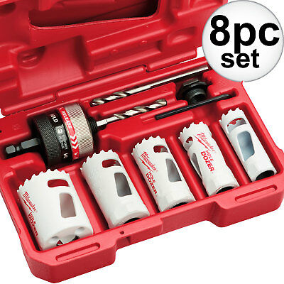 8pc GenPurpose Ice Hardened Hole Dozer Saw Kit Milwaukee 49-22-4005 New