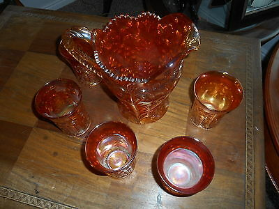 Imperial Carnival Glass . Tiger Lilly Water Pitcher Set With  5 Glasses. Ex.++++