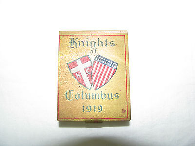 Antique Knights of Columbus 1919 metal matchbook holder