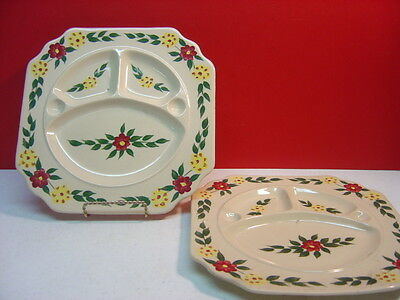 Shenango China Incaware OLD MARK Two Floral Grill Plates (Hairline Cracks)