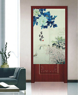 Chinese Freehand Brush Work Pattern Japanese Door Decorative Curtain D-1335