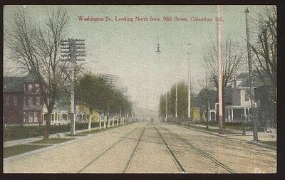 Postcard COLUMBUS Indiana/IN  Washington Street Houses/Homes view 1907