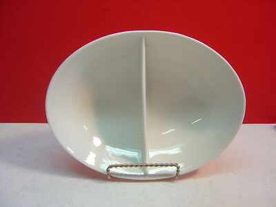 "Shenango China Peter Terris TERRIS WHITE 9"" Oval Divided Vegetable Bowl"