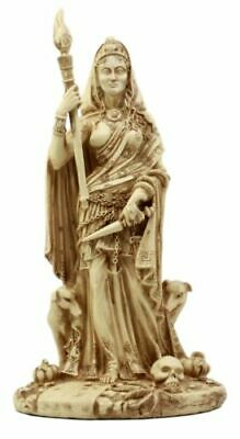 Greek Triple Goddess Hecate Holding Staff with Dog Figurine Statue Collectible