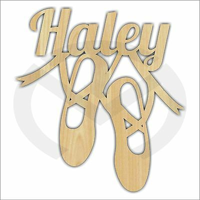Custom Wooden Ballet Dance Shoes with Name, Various Sizes, Unfinished, Laser Cut