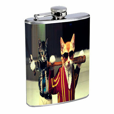 Funny Cat D5 Flask 8oz Stainless Steel Cool Drinking Whiskey Brandy