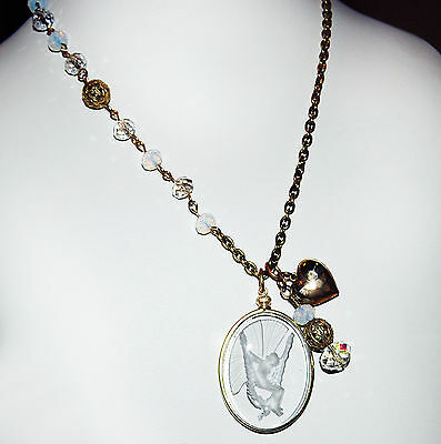 """Vintage Lalique Like Angel On  Swing Cameo Assymetrical Brass 24"""" Necklace P3L8"""