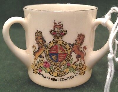 Vintage W&R Stoke on Trent Carlton Ware China Mini Coat of Arms 3-handle cup