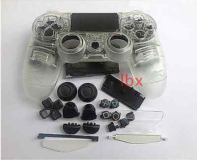 T Matt Clear Housing Shell Case+Replace Buttons Set f PS4 Controller DualShock 4