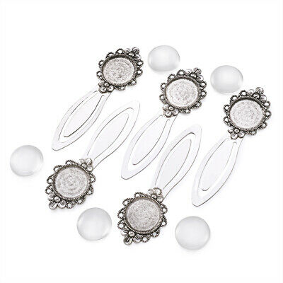 5set 20mm Clear Domed Glass Cabochon Cover Silver Portrait Flower Bookmark Tray