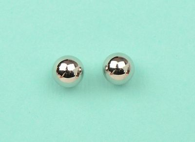 14k White Gold Ball stud earrings with screw back round High Polish