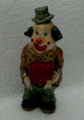 "Clown Figurine Playing Red Accordion  10 1/2"" H x 4 1/2"" W  Bank"