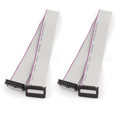 2pcs FC16P IDC 16-Pin Hard Drive Extension Wire Flat Ribbon Cable Connector 30cm