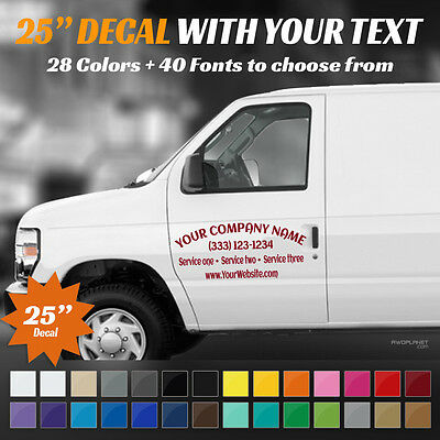 "25"" Custom Car, Truck Door & Rear Window Decal Business Name Vinyl Sign, Decal"