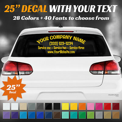 "25"" Custom Car, Truck Door Back Window Decal Business Name Vinyl Sign Lettering"