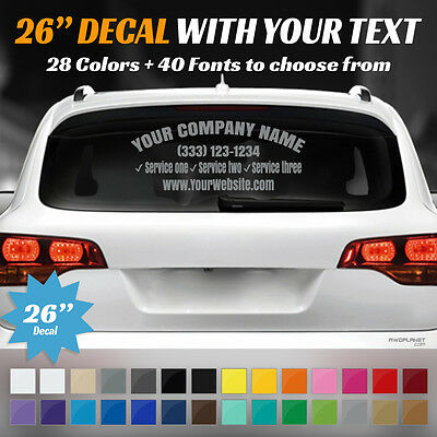 "26"" Custom Car Van Suv Door / Back Window Decal Business Name Vinyl Sign Decal"
