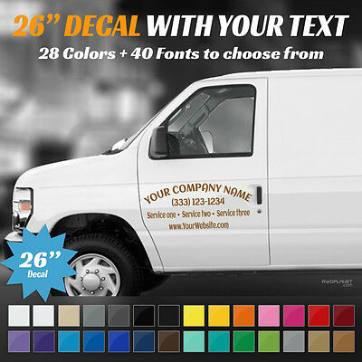 "26"" Custom Car, Truck Door & Rear Window Decal Business Name Vinyl Sign, Decal"